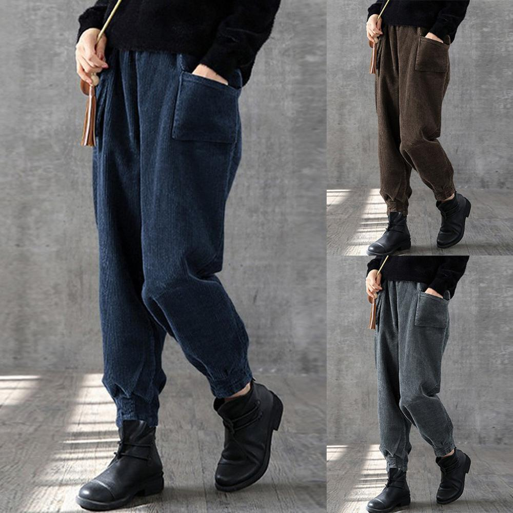 Fashion Ladies Corduroy Trousers Autumn And Winter New Elastic Waist Pants Leg Beam Mouth Casual Large Size Trousers#20