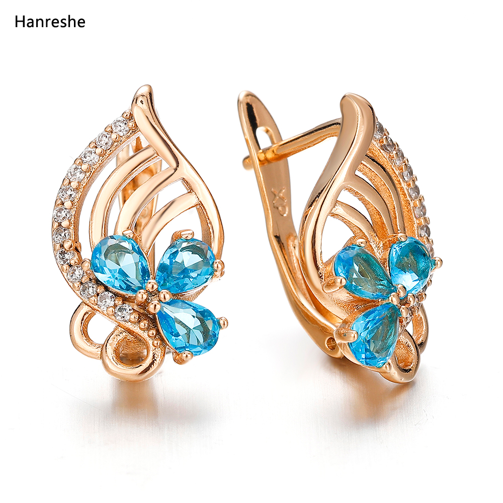 Luxury Women's Crystal Zircon Earrings Zinc Alloy Natural Zircon Jewelry Female Beautiful Fashion Earrings Multi-color Optional