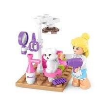 Bloques de construcción de tienda de gatos para mascotas SLUBAN 0515 chicas amigos Legoinglys juguetes Playmobil compatibles con ladrillos para niños