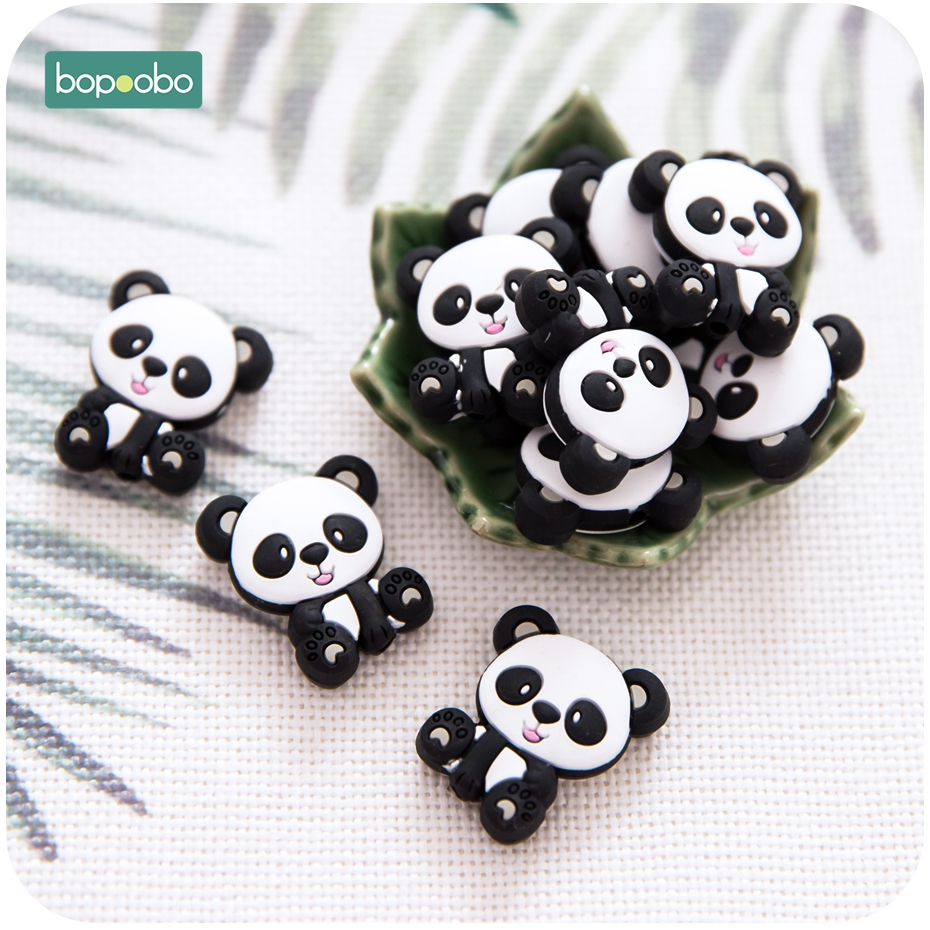 Bopoobo 5pc Food Grade Silicone Panda Beads Bpa Free Silicone Teether Baby Teething For DIY Pacifier Pendant Rodents Cat Teether