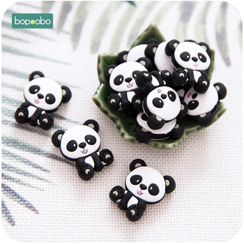 Bopoobo 5pc Food Grade Silicone Panda Beads Bpa Free Silicone Teether Baby Teething For DIY Pacifier Pendant Rodents Cat Teether bopoobo 20pc silicone mini crown beads baby teething beads silicone grass pearls food grade silicone rodents baby teether
