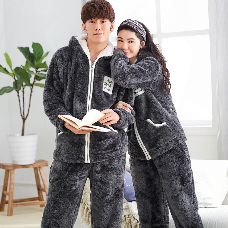 Couple Pyjamas Flannel Casual Women Pajama Set Sleepwear Suit Big Size Homewear Lingerie Pyjama Men Home Clothing