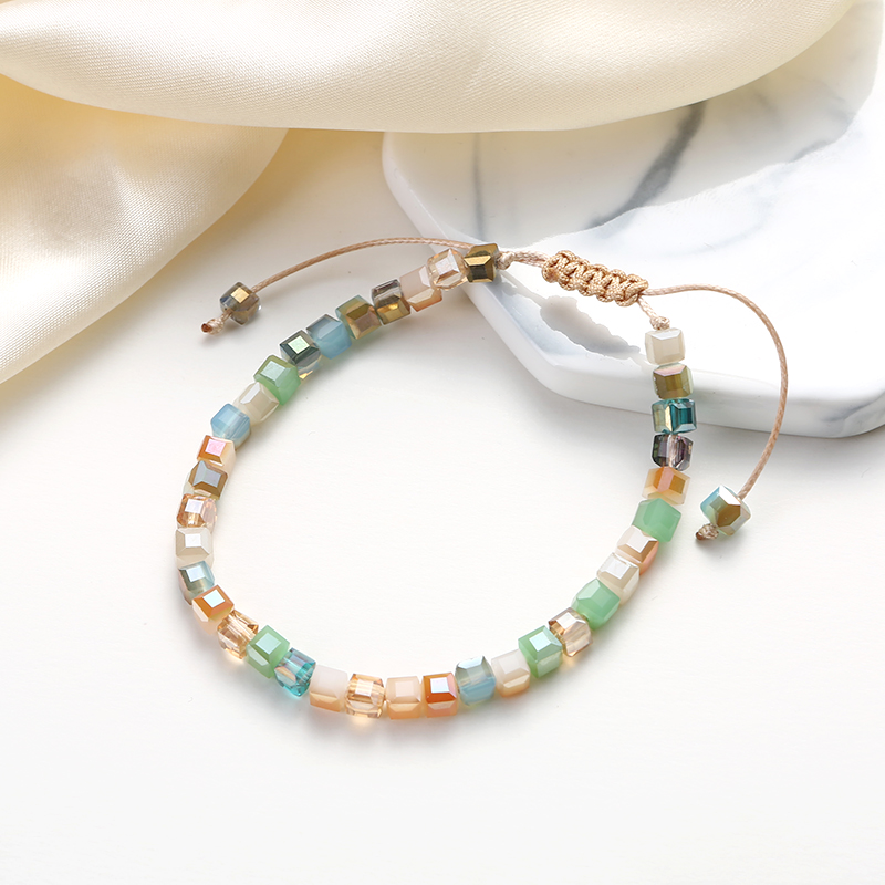 1 pcs adjustable length cubic crystal beaded bracelets for women handmade jewelry