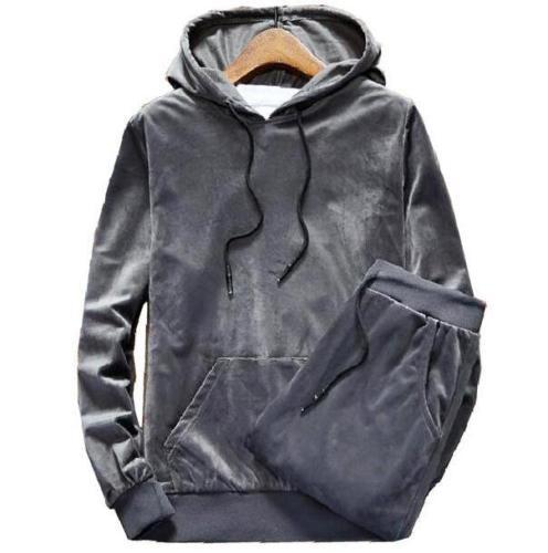 Men's Velour Velvet Hoodies Sport Sweatshirt Tracksuit Track Suit Outwear 2PC Jacket Coat Pants Trousers Sets Outfits