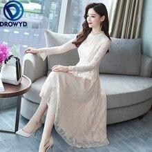 Розовое Кружевное платье миди женское осеннее Повседневное в