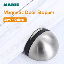 Marie Stainless Steel Door stopper Magnetic No-Punching Sticker Self-adhesive Floor Suction Black Door Stops Protector Hardware anho stainless steel strong magnetic door stop stopper bathroom bedroom toilet door wall suction fitting screw hardware