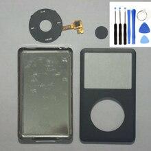 Face avant noire argent couvercle de boîtier arrière noir Clickwheel noir bouton pour iPod 6th 7th gen classique 80gb 120gb 160gb