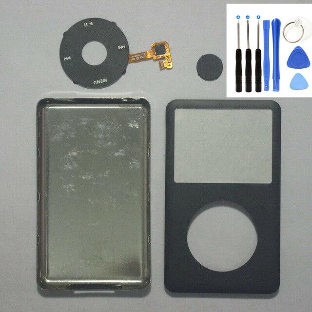 ด้านหน้าสีดำ Faceplate ด้านหลังฝาครอบสีดำ Clickwheel ปุ่มสีดำสำหรับ iPod 6th 7th Gen Classic 80 GB 120 GB 160 GB