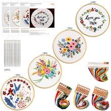 4PCS Or3PCS Beginner Diy kit Embroidery Cross Stitch Tools Flowers Plants Pattern Borduurpakket Kruissteek With Embroideri Frame