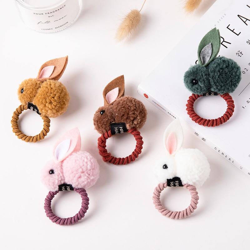 Fashion Cute Ball Rabbit Hair Ring Female Tie Rope Korean Elastic Rubber Hair Bands Bunny Hair Rope Children's Hair Accessories