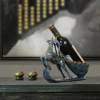 VILEAD 22cm 27cm Resin Horse Deer Wine Rack Figurines European Creative Home Wine Decoration Restaurant Display Stand Wine Tray