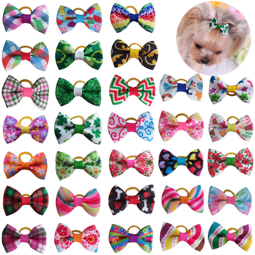 20 Pcs Dog Bows Pet Dog Grooming Accessories Products Handmade Christmas Small Dog Hair Bows Rubber Band Cat Hair Clips Boutique