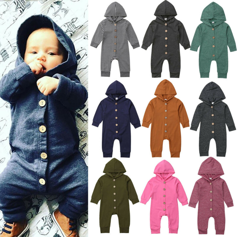 2020 Children Spring Autumn Clothing Baby Kids Boys Girls Infant Hooded Solid Romper Jumpsuit Long Sleeve Clothes Outfits 0-24M