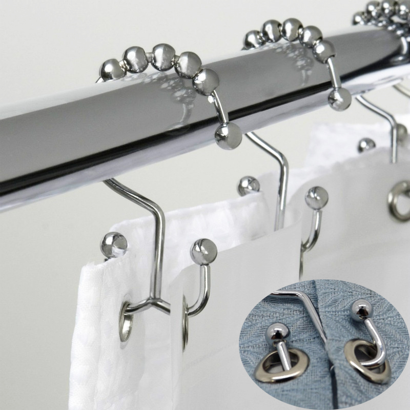 Bath Curtain Rollerball Shower Curtain Rings Hooks 5 Roller Polished Satin Nickel Ball Curtain Accessories Bathroom Shower Rods