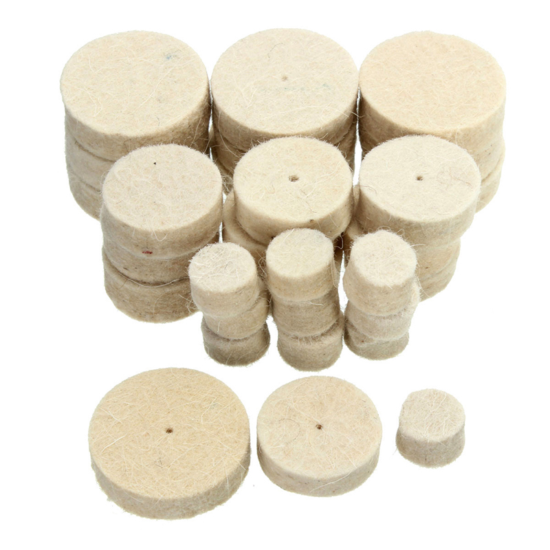 100pcs Wool Felt Polishing Buffing Round Wheel Tool + 2 Shank For Dremel Rotary Soft Felt Polishing Buffing Wheel Accessory