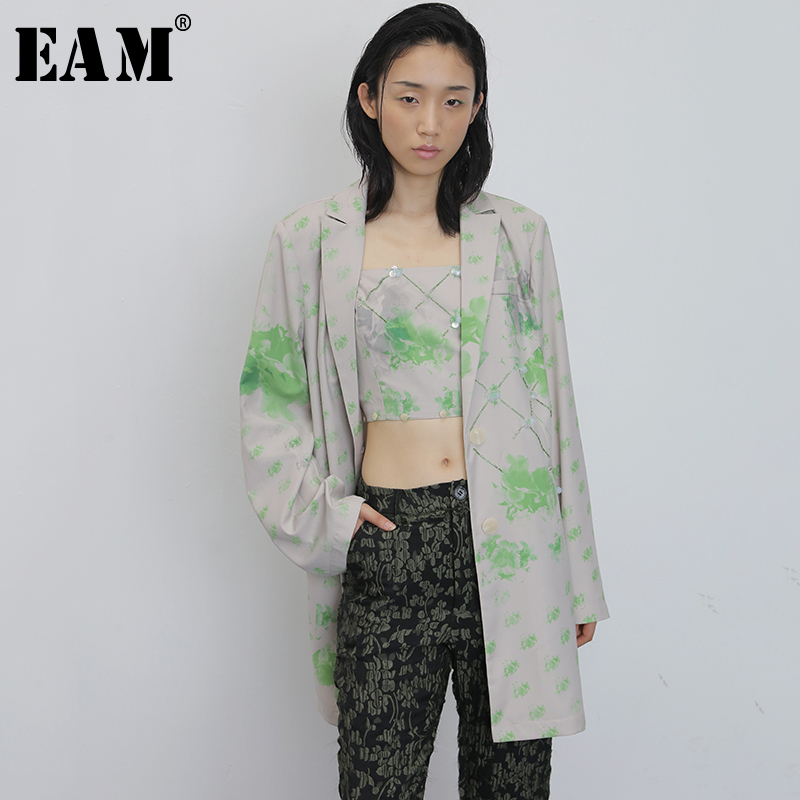 [EAM]  Women Nailed Pattern Printed Big Size Blazer New Lapel Long Sleeve Loose Fit  Jacket Fashion Spring Autumn 2020 1U564