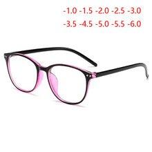 Rebites bloqueando a luz azul terminou miopia óculos mulher revestimento de filme azul oval literária míopes óculos-1.0 -1.5 para-6