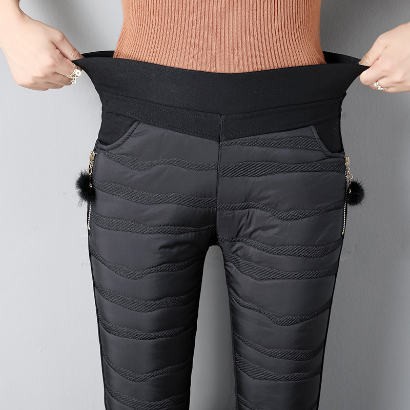 NORMOV Large Size Stylish Casual Plus Velvet Pants Woman Warm Slim High Waist Cotton Pants Thicken Solid Winter Trousers