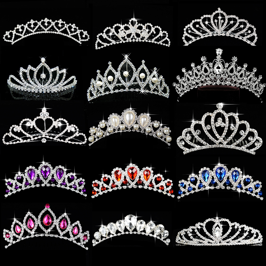 Princess Crown for Girls Birthday Show Gift Crown Tiara Diadem Silver Crystal Floral Wedding Bridal Hair Head Accessories