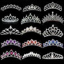 Corona de princesa para niñas cumpleaños Show regalo Tiara diadema plata cristal Floral boda accesorios para el cabello de novia