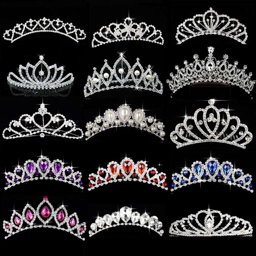 Princess Crown for Girls Birthday Show Gift Crown Tiara Diadem Silver Crystal Floral Wedding Bridal Hair Head Accessories