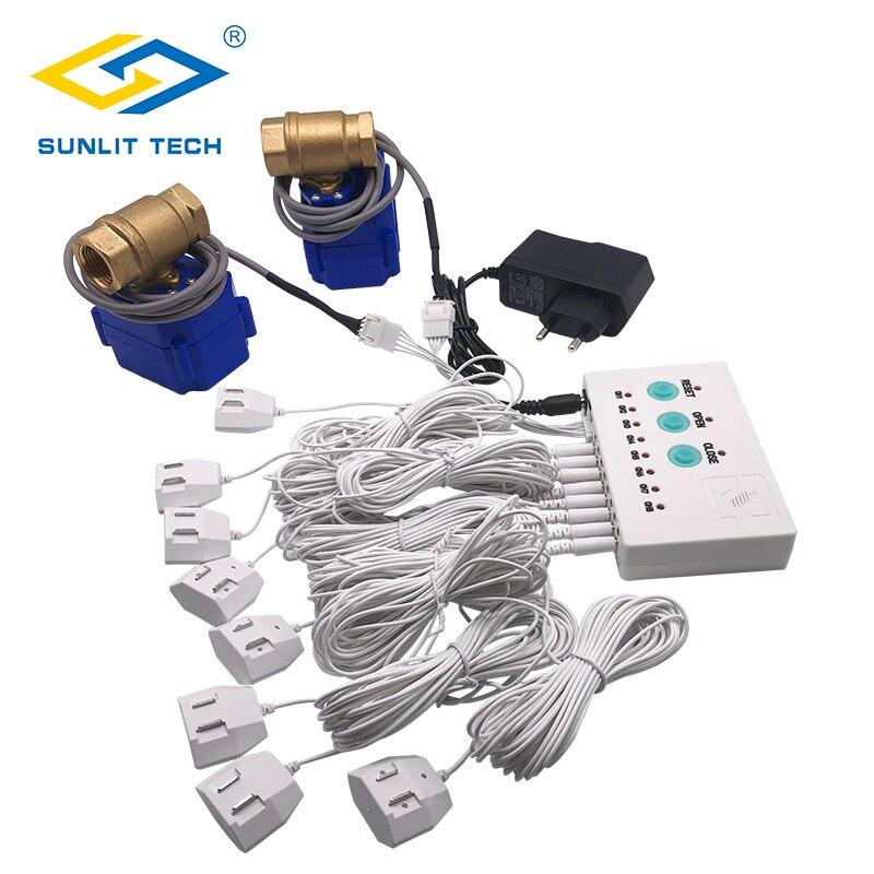 Sistema de alarme do detector de vazamento de água para a casa inteligente com 2 pces dn15 válvula proteção contra o sensor do excesso de inundação