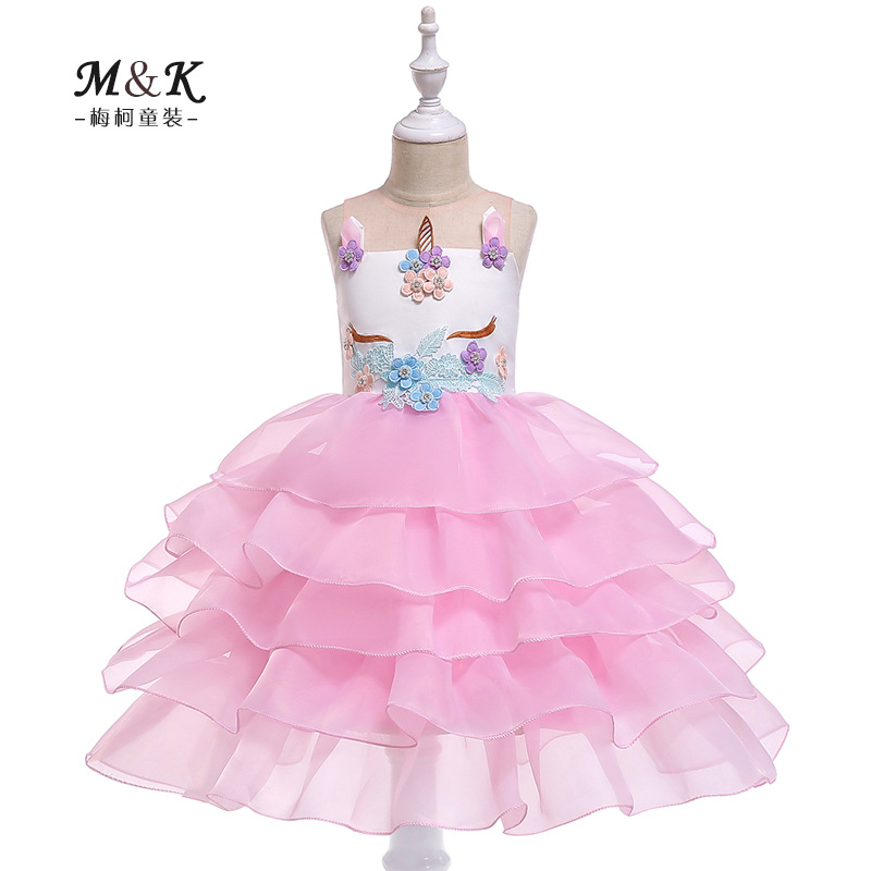 2019 Europe And America Hot Sales Girls Unicorn Tube Top Dress Flower Stickers Beads Princess Dress Multilayer Organza Cake Dres