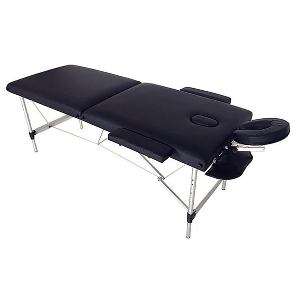 2 Sections Folding Portable SPA Bodybuilding Massage Table Black Beauty Table Bed For SPA Beauty Salon