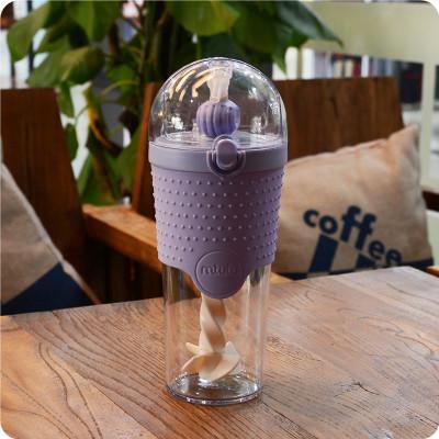 500 мл фитнес-бутылка для воды, портативная герметичная Тепловая солома, Однослойный пластиковый протеиновый порошок, размешивающий чайник для спорта на открытом воздухе и путешествий - Цвет: Purple
