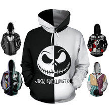 Sweat à capuche Anime femmes hommes cauchemar avant noël Jack Skellington veste sweat manteau Sally visage Halloween Cosplay Costume(China)