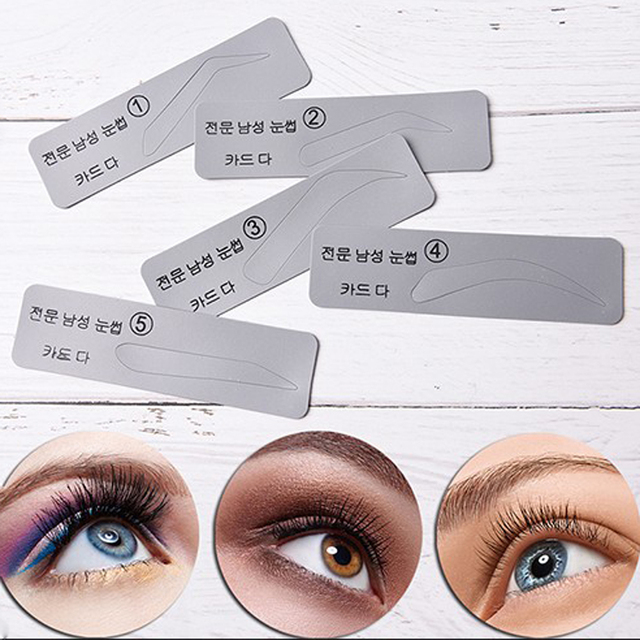 5pcs Reusable Eyebrow Stencil Shaping Template Card DIY Grooming Eye Brow Useful Drawing Eye Brow Mold Makeup Beauty Tool