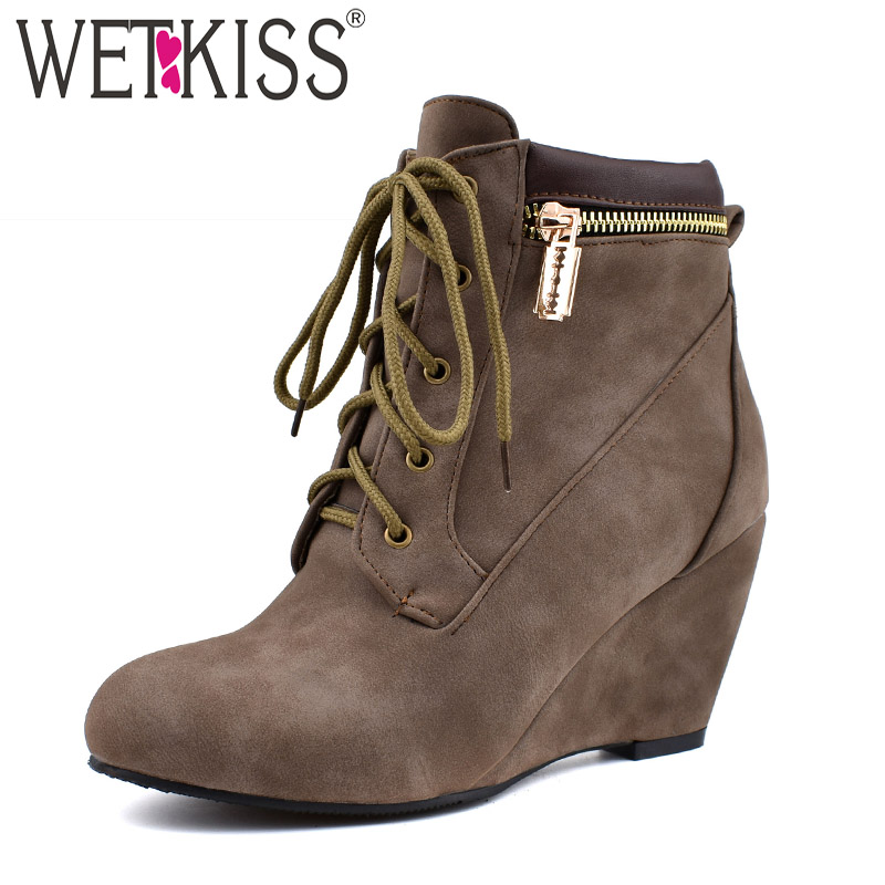 WETKISS Wedges High Heels Boots Women Metal Zip Ankle Booties Female Round Toe Shoes Ladies Fashion Shoes Winter Plus Size 34-48