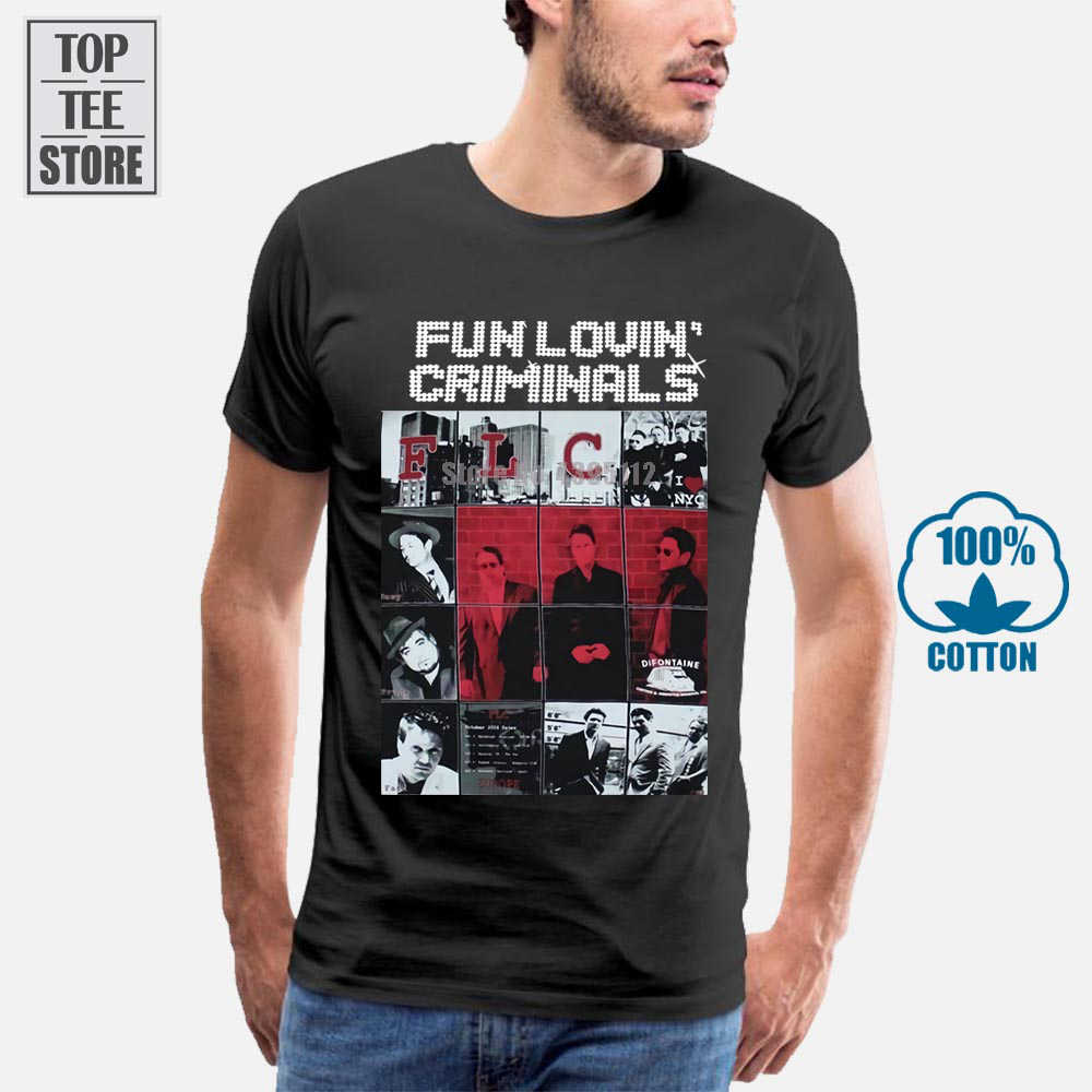 Fun Lovin Criminals Band Alternative Rock Stereo <font><b>Mc</b></font> S New Black <font><b>T</b></font> <font><b>Shirt</b></font> Round Neck Tshirt image