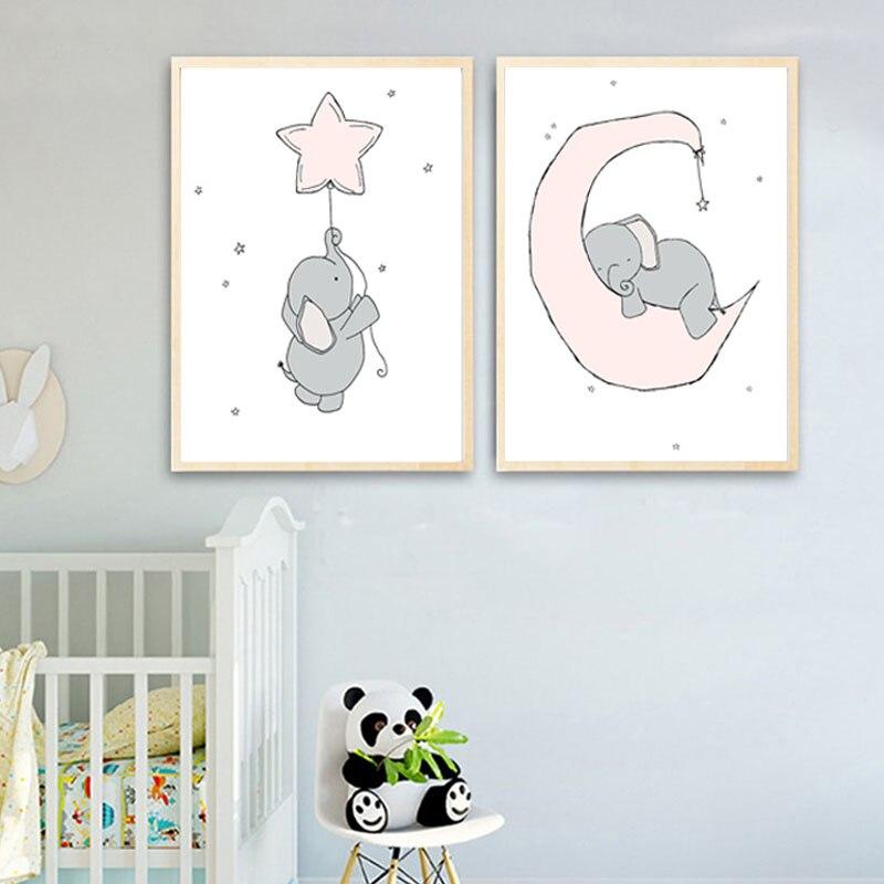 Купить мультяшные луны и звезды холст художественные плакаты картина