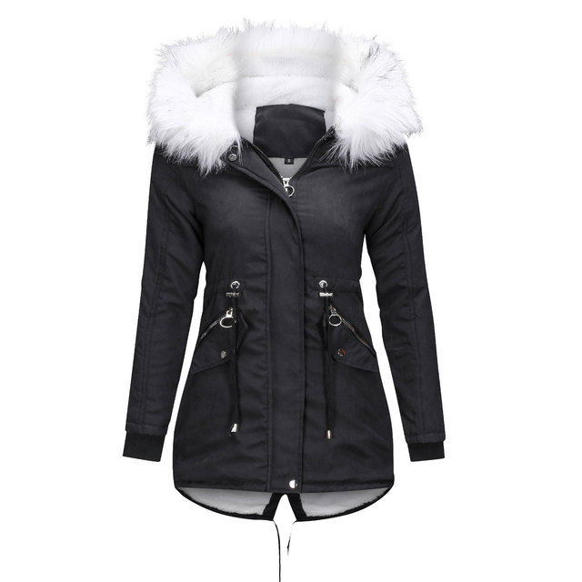 Women Jacket Long Overcoats Winter Warm Thick Female Casual Military Fur Tops Jackets Coats  Dropshipping