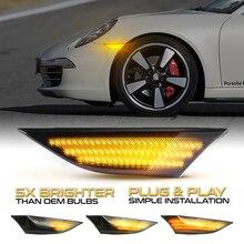 عدد 2 قطعة إشارات جانبية ديناميكية كهرماني LED أضواء انعطاف إشارة متتابعة لبورش 981 982 Boxster كايمان 991 911 كاريرا