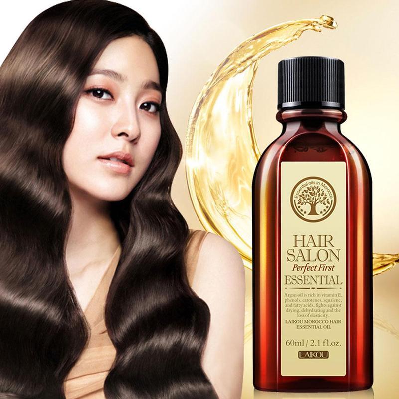 LAIKOU Moroccan Argan Hair Oil Scalp Treatment Protect Damaged Hair Loss Salon Moisturizing Repair Dry Hair Growth Essence 60ml