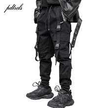 2019 New Fashion Big Pocket Cargo Joggers Mens Pants Ribbon Hip hop Loose Streetwear Men Trousers Pantalones Guo-Chao Tang