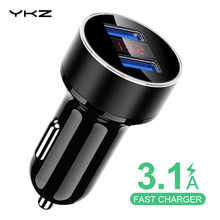 YKZ Dual USB Caricabatteria Da Auto 3.1A Veloce di Ricarica Display A LED Caricatore Del Telefono Dell'automobile Universale per Xiaomi Samsung S10 iPhone iPad tablet(China)