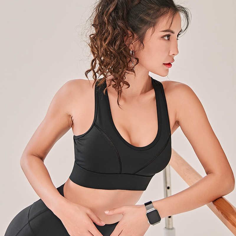 امرأة حمالة صدر رياضية لليوغا دفع ما يصل تشغيل الرياضة العلوي للصدمات تنفس الصالة الرياضية اللياقة البدنية عالية تمتد