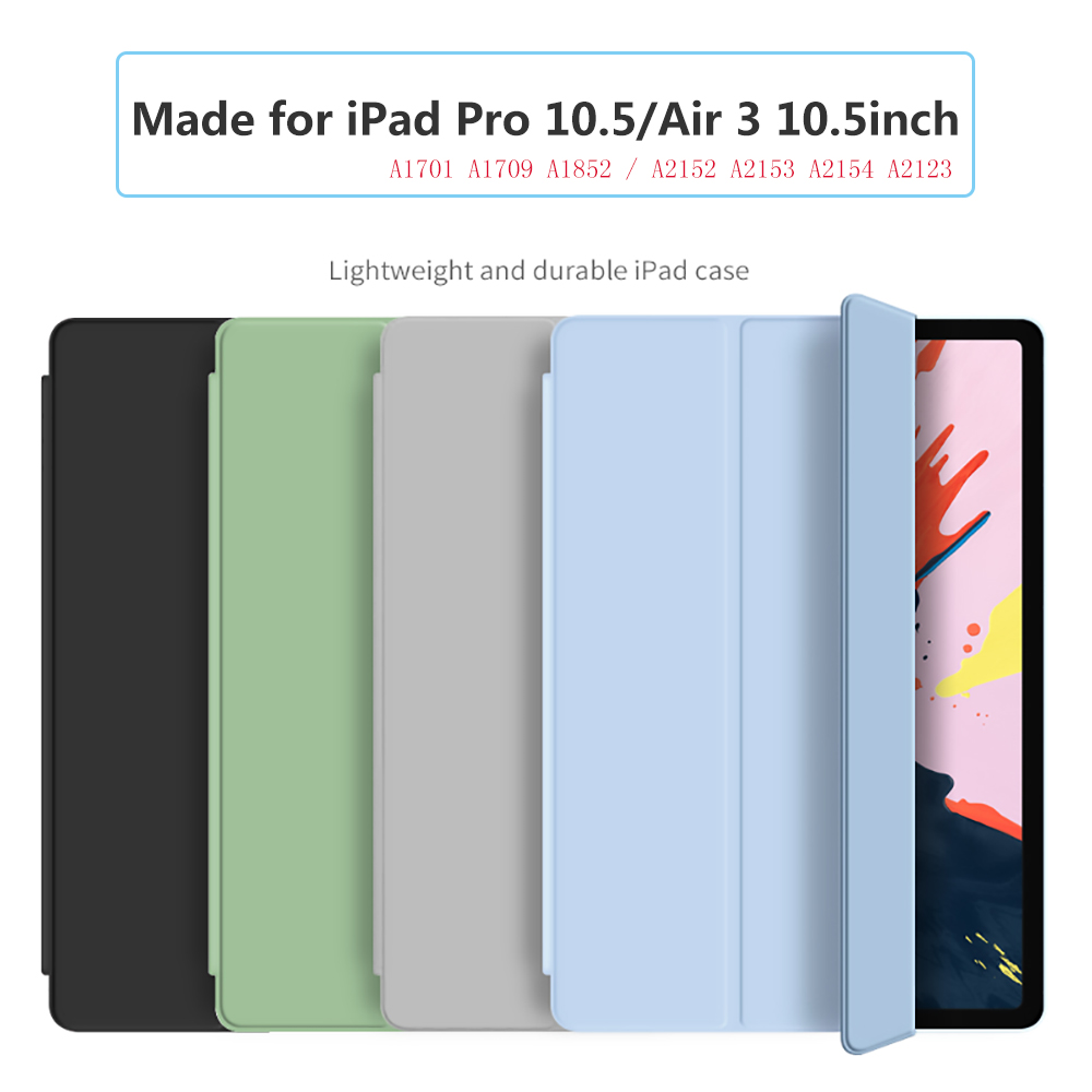 For iPad Pro 10.5 inch 2017 Case PU Leather Trifold Stand + PC Hard bottom with soft edges Smart Cover For iPad Air 3 2019 Case image