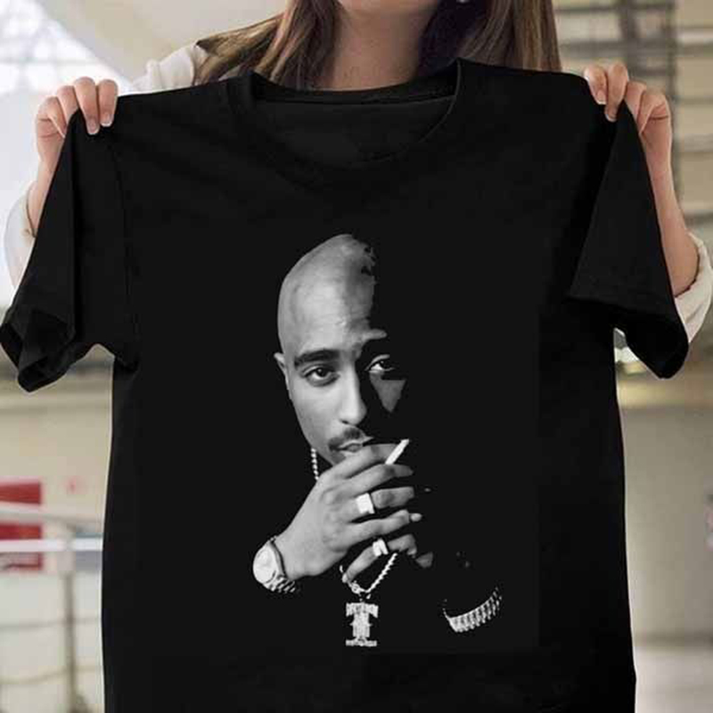 New Fashion 2 Pac Tupac Printed T Shirts Women Short Sleeve Black T- Shirts Hip Hop Short Sleeve Famle Tshirt Funny Girls Shirt