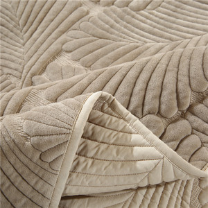 Image 5 - Plush Cotton Quilt Set 3PCS Palm Leaves Embroidery Quilted Bedspread Bed cover sheets Pillowcase Coverlet Set King Size