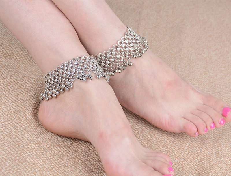 1 PC Multilayers Silver Bells Tassel Barefoot Sandals Anklets For Women Ethnic Ankle Foot Bracelet Cheville Beach India Jewelry in Anklets from Jewelry Accessories