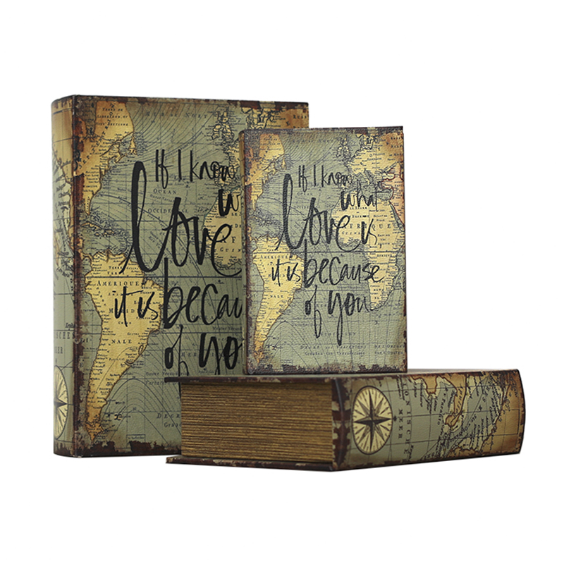 Book Boxes World Map Pattern Antique Book Invisible Box, Faux Wood