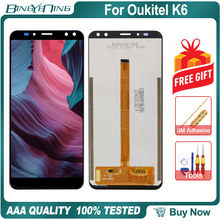 "BingYeNing 6.0 ""עבור Oukitel K6 LCD & מסך מגע Digitizer עם מסגרת תצוגת מסך טלפון אביזרי הרכבה החלפת כלים"