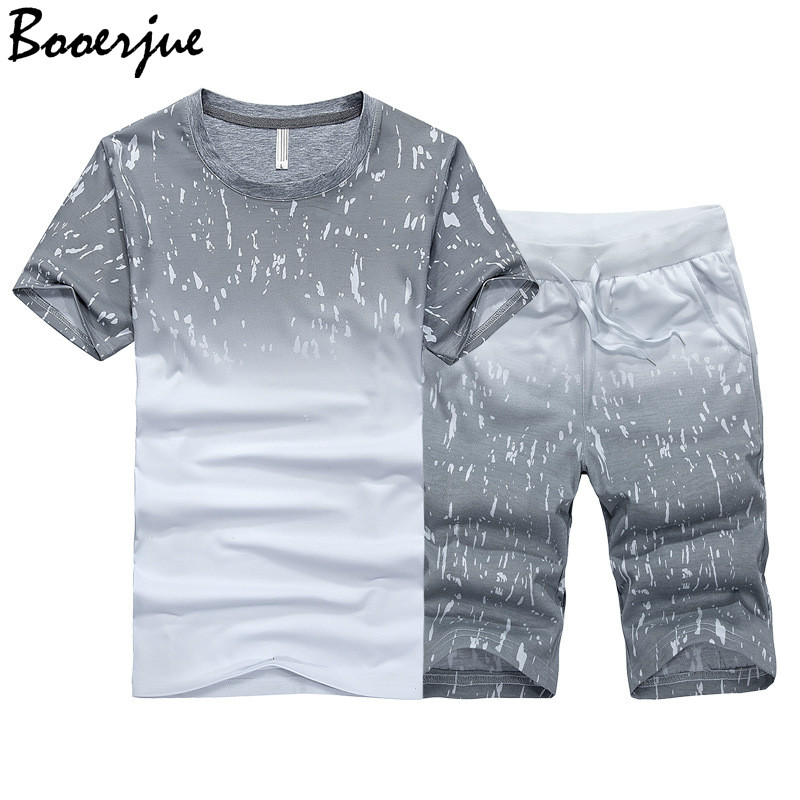 Fashion Summer Men Set Sporting Suits T Shirt+Shorts Quick Drying 2 Piece Set Casual Male Tracksuit Men Clothing Sweat Suit 2020