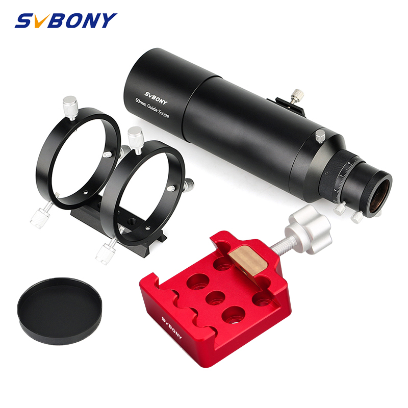 SVBONY 60mm SV106 60240 Compact Deluxe Guide Scope Finderscope w 1 25inch Double Helical Focuse w Medium Dovetail Clamp With a Bras