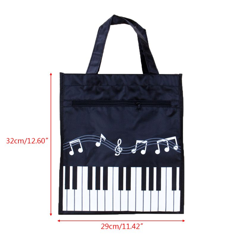 Waterproof Piano Keyboard Music Note Women Tote Handbag Shoulder Shopping Bag