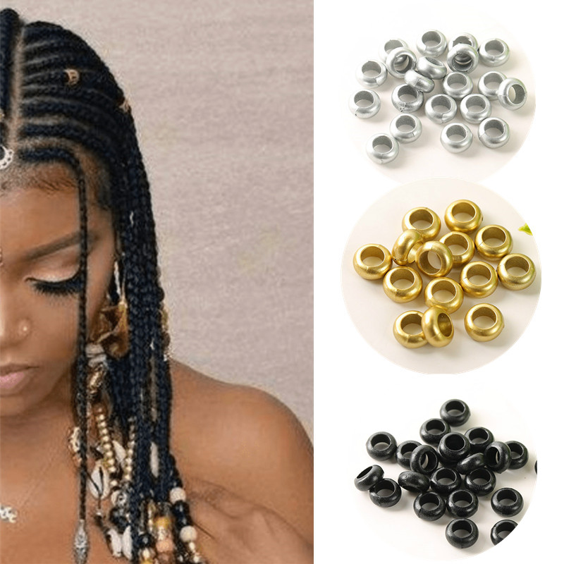 50-150 PCS  African Hair Rings Cuffs Tubes Charms Dreadlock Dread Hair Braids Jewelry Decoration Accessories Gold Silver Beads